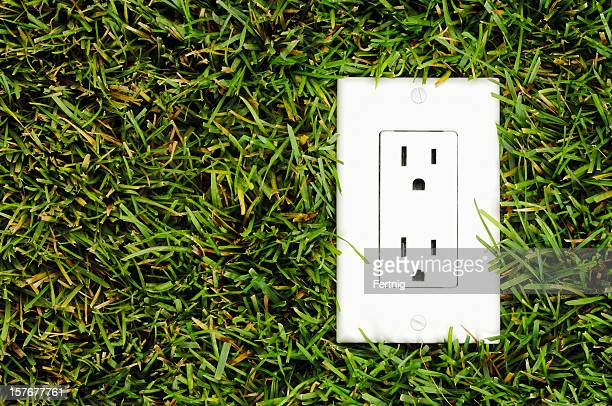 North American electrical outlet in real grass