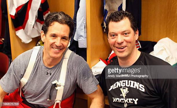 North American Hockey Legends Brendan Shanahan and Billy Guerin pose for a photo during the Global Hockey Legends For Hurricane Sandy Relief Charity...