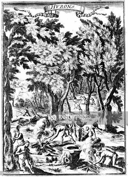 North American Huron Indians of what is now Virginia hunting and preparing food in woodland From Alain Manesson Mallet 'Description de l'Univers '...