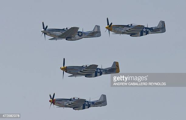 North American P51 Mustangs fly over the National Mall during the Arsenal of Democracy a WWII plane flyover for the 70th anniversary of VE Day in...