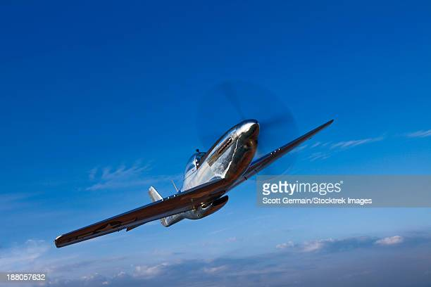 A North American P-51D Mustang in flight near Chino, California.