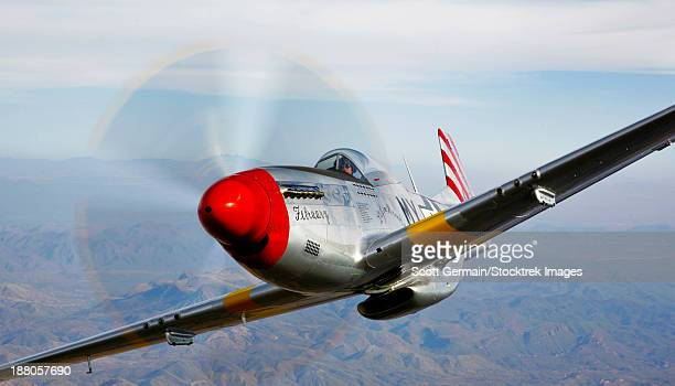 A North American P-51D Mustang in flight near Prescott, Arizona.