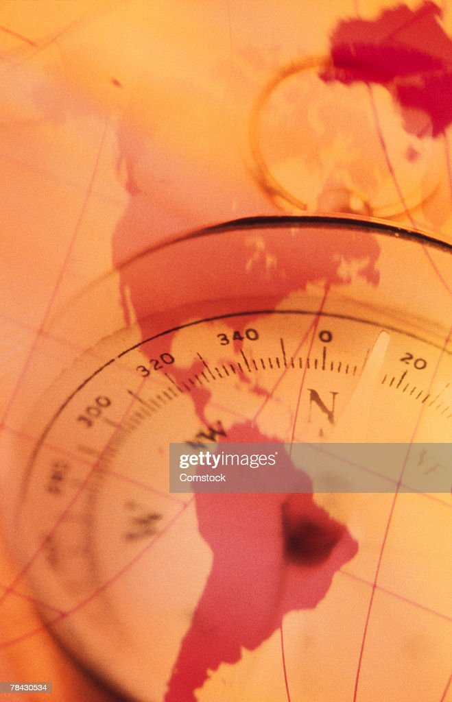 America Map With Compass.North And South America Map With Compass Stock Photo Getty Images