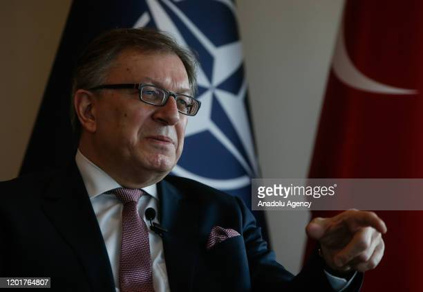 North Atlantic Treaty Organization Assistant SecretaryGeneral for Public Diplomacy Ambassador Tacan Ildem speaks during an exclusive interview with...