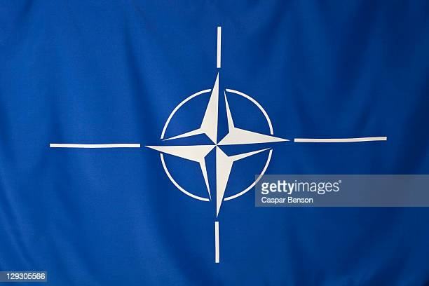 North Atlantic Treaty Organization flag, white compass rose emblem in blue background