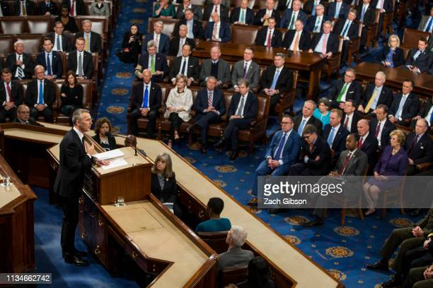 North Atlantic Treaty Organization Secretary General Jens Stoltenberg speaks during a joint meeting of US Congress April 3 2019 at the US Capitol in...