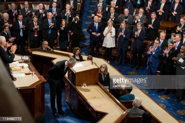 North Atlantic Treaty Organization Secretary General Jens Stoltenberg bows after concluding an address to a joint session of U.S. Congress April 3,...