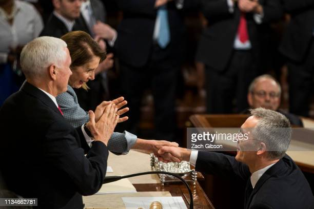 North Atlantic Treaty Organization Secretary General Jens Stoltenberg shakes hands with House Speaker Nancy Pelosi as he concludes an address to a...