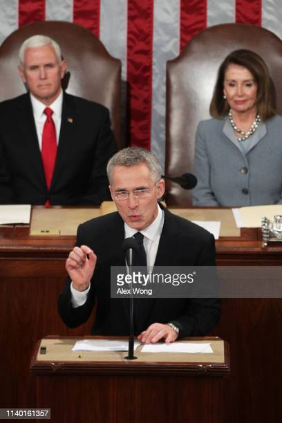 North Atlantic Treaty Organization Secretary General Jens Stoltenberg addresses a joint meeting of the US Congress as US Vice President Mike Pence...