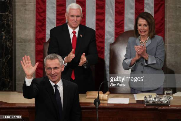 North Atlantic Treaty Organization Secretary General Jens Stoltenberg waves after he addressed a joint meeting of the US Congress as US Vice...
