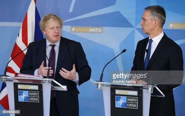 North Atlantic Treaty Organization Secretary General Jens Stoltenberg and Secretary of State for Foreign and Commonwealth Affairs Boris Johnson hold...