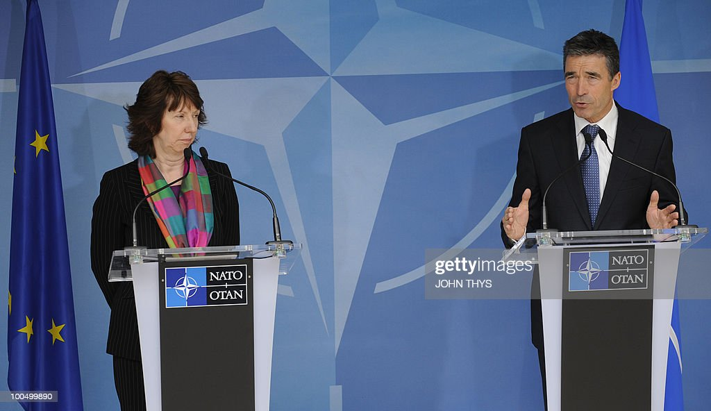 North Atlantic Treaty Organization (NATO) Secretary-General Anders Fogh Rasmussen (R) and EU foreign affairs chief Catherine Ashton (L) give a press conference on May 25, 2010 after their bilateral meeting at NATO headquarters in Brussels.