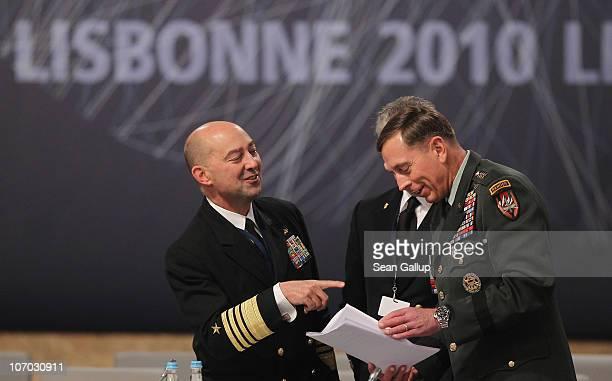 North Atlantic Treaty Organization Supreme Allied Commander Europe Admiral James Stavridis and General David Petraeus commander of the International...