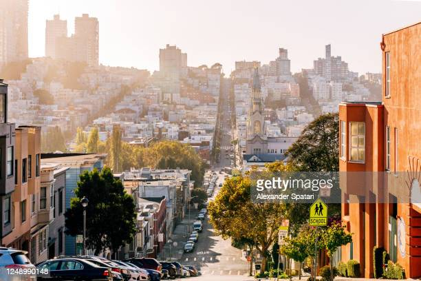north beach and russian hill residential districts in san francisco, usa - san francisco california stock pictures, royalty-free photos & images