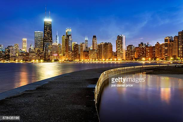 north beach breakwater, chicago, illinois, america - hancock building chicago stock photos and pictures