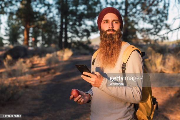USA, North California, bearded man with cell phone and apple in a forest near Lassen Volcanic National Park
