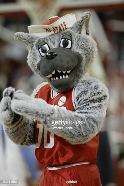 North Carolia State University Wolfpack mascot performs during the game against the University of North Carolina Tar Heels at the RBC Center on...