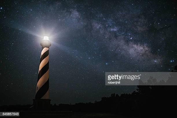 USA, North Carolina, Cape Hatteras Lighthouse under The Milky Way