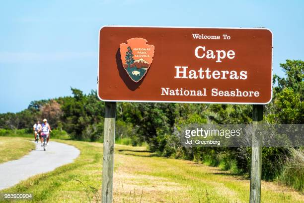 North Carolina Cape Hatteras National Seashore roadside sign and bicycle path
