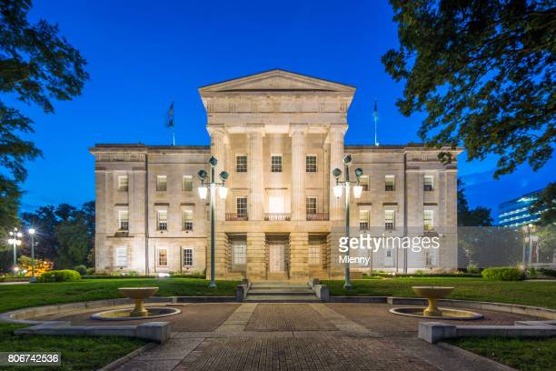 north carolina capitol at dusk nc raleigh usa - capital cities stock pictures, royalty-free photos & images