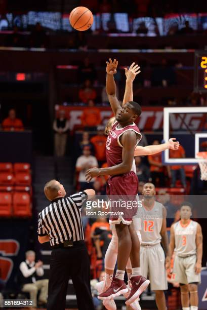 North Carolina Central Eagles Center Raasean Davis taps the ball to a team mate on the tipoff to start the college basketball game between the North...