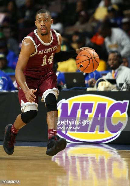 North Carolina Central Eagles guard Raekwon Harney in action during a quarterfinal match between the North Carolina Central Eagles and the Savannah...