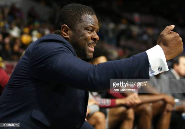 North Carolina Central Eagles Head Coach LeVelle Moton in action during a quarterfinal match between the North Carolina Central Eagles and the...