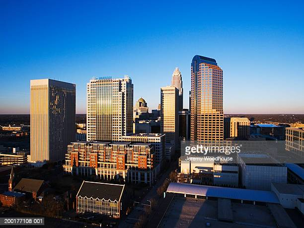 USA, North Carolina, Charlotte, cityscape at dusk, elevated view