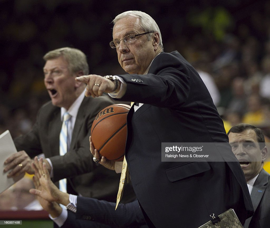 North Carolina coach Roy Williams directs his team during the second half against Boston College at the Conte Forum in Chestnut Hill, Massachusetts, Tuesday, January 29, 2013.