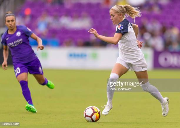 North Carolina Courage defender Abby Dahlkemper bring the ball up field during the NWSL soccer match between the Orlando Pride and the North Carolina...