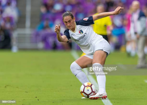 North Carolina Courage defender Abby Dahlkemper keeps the ball inbounds during the NWSL soccer match between the Orlando Pride and the North Carolina...
