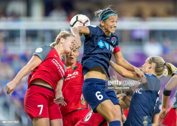 North Carolina Courage defender Abby Erceg and Portland Thorns FC midfielder Lindsey Horan both got for the header during the NWSL soccer...