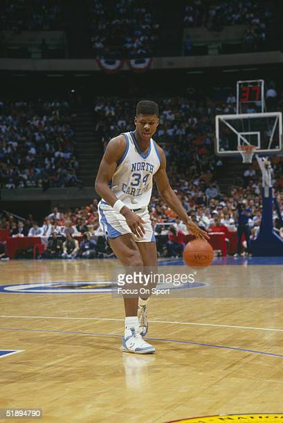 North Carolina dribbles down the court during the 1987 NCAA Basketball Sweet 16 game against Notre Dame. North Carolina won 74-68.