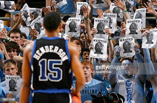 North Carolina fans heckle Gerald Henderson of the Duke Blue Devils during the first half at the Dean E Smith Center on February 6 2008 in Chapel...