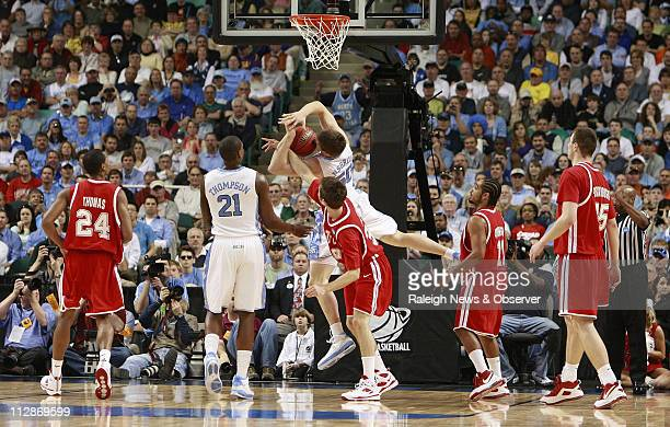 North Carolina forward Tyler Hansbrough was fouled in the first half by Radford forward Phillip Martin allowing Hansbrough to break the ACC scoring...