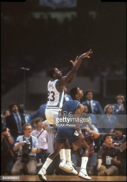 North Carolina freshman Michael Jordan sinks the shot to win the NCAA Photos via Getty Images National Basketball Championship game held at the...