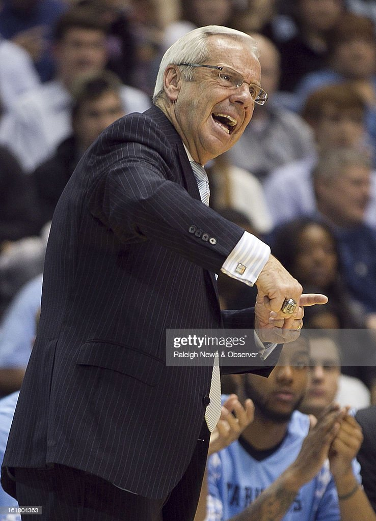 North Carolina head coach Roy Williams directs his team during the second half against Virginia lead during the first half at the Smith Center in Chapel Hill, North Carolina, Saturday February 16, 2013. UNC beat Virginia, 93-81.
