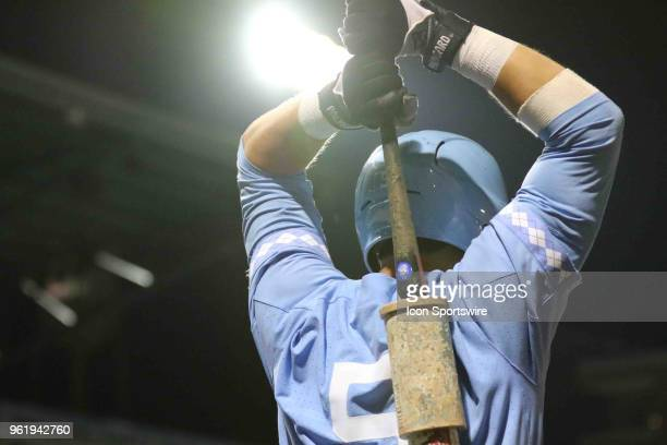 North Carolina infielder Ashton McGee warming up during the ACC Baseball Championship game between the North Carolina Tar Heels and Pittsburgh...