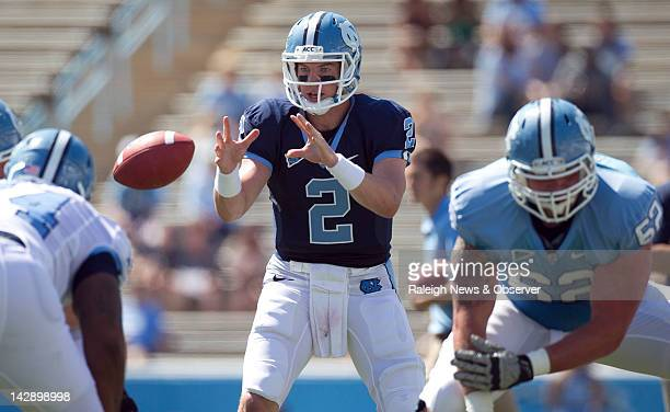 North Carolina quarterback Bryn Renner runs the offense during the first quarter in the Tar Heels' spring scrimmage on Saturday, April 14 at Kenan...
