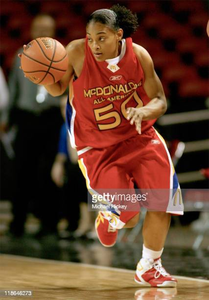 North Carolina recruit Italee Lucas dribbles the ball upcourt during the McDonald's All American High School Basketball Games at Freedom Hall in...