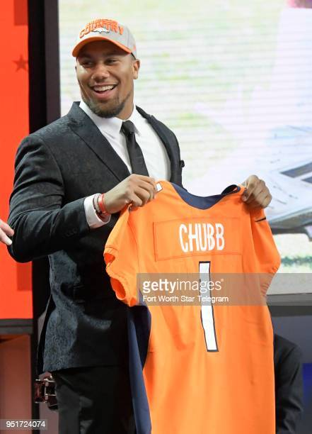 North Carolina State defensive end Bradley Chubb is selected fifth overall by the Denver Broncos during the NFL Draft at ATT Stadium in Arlington...