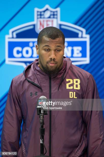 North Carolina State defensive lineman Bradley Chubb answers questions from the media during the NFL Scouting Combine on March 3 2018 at the Indiana...