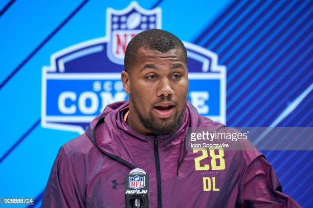 North Carolina State defensive lineman Bradley Chubb answers questions from the media during the NFL Scouting Combine on March 03 2018 at Lucas Oil...