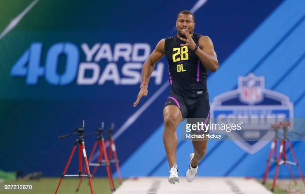 North Carolina State defensive lineman Bradley Chubb runs in the 40 dash drill at the NFL Scouting Combine at Lucas Oil Stadium on March 4 2018 in...