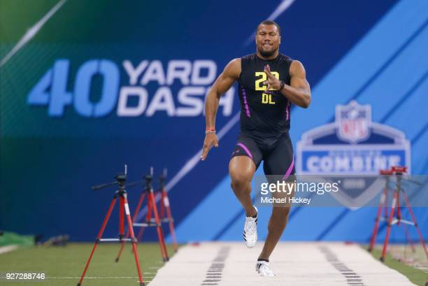 North Carolina State defensive lineman Bradley Chubb runs in the 40 yard dash during the NFL Scouting Combine at Lucas Oil Stadium on March 4 2018 in...
