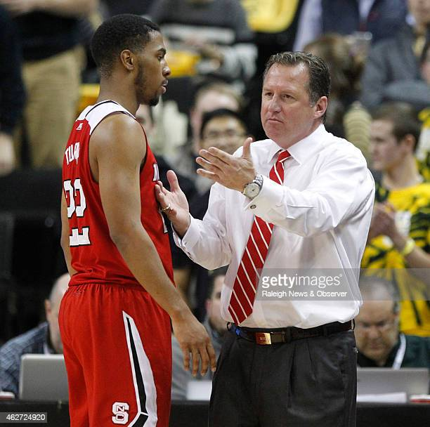 North Carolina State head coach Mark Gottfried talks to Ralston Turner during the first half against Wake Forest at the Joel Coliseum in WinstonSalem...