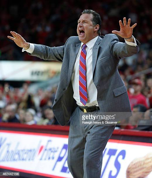 North Carolina State head coach Mark Gottfried yells to his team during the second half against Clemson at PNC Arena in Raleigh NC on Wednesday Jan...