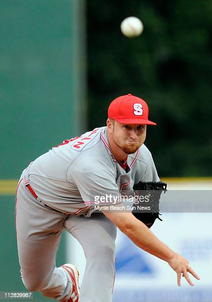 North Carolina State starting pitcher Jake Buchanan works in the first inning against the College of Charleston during the second game of the NCAA...