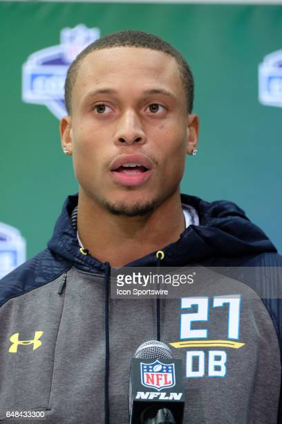 North Carolina State strong safety Josh Jones answers questions from members of the media during the NFL Scouting Combine on March 5 2017 at Lucas...