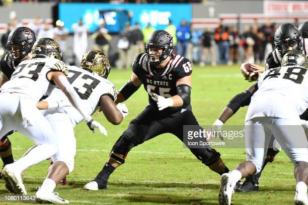North Carolina State Wolfpack center Garrett Bradbury defends the quarterback during the college football game between Wake Forest Demon Deacons and...